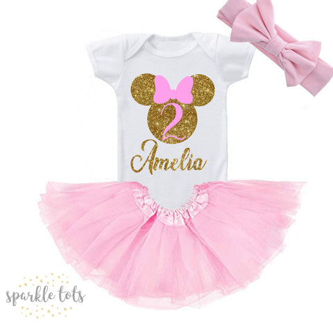 Baby Girls 1st First Birthday Outfit Minnie Mouse
