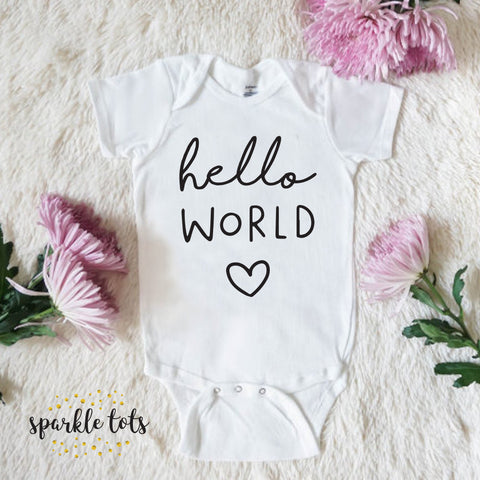 hello world baby outfit, baby girl, baby grow