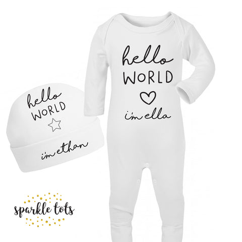Hello world Romper Personalised Baby Sleepsuit