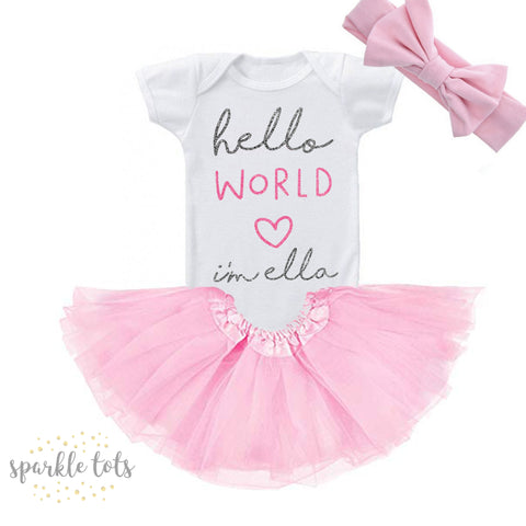 Hello World Baby Girl's outfit