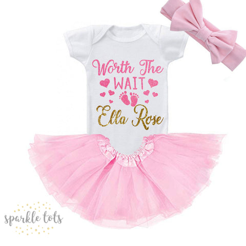 Worth The Wait Newborn, Coming Home Outfit Baby Girl