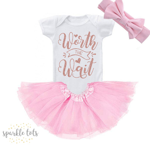 worth the wait, newborn baby girls outfit