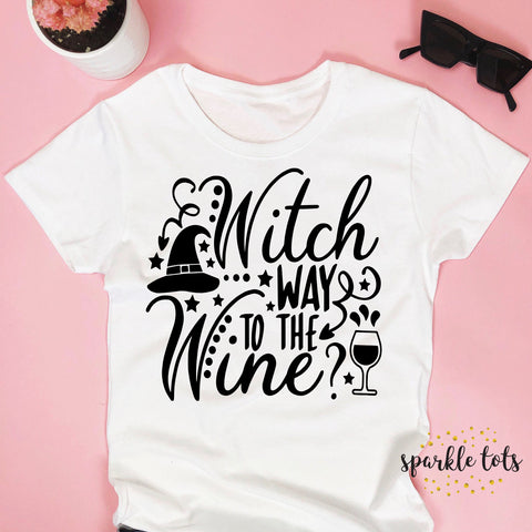 Witch way to the wine, halloween shirt