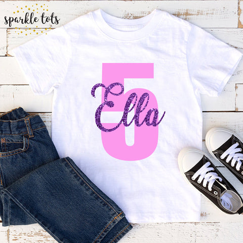 girls birthday shirt, girls age birthday top