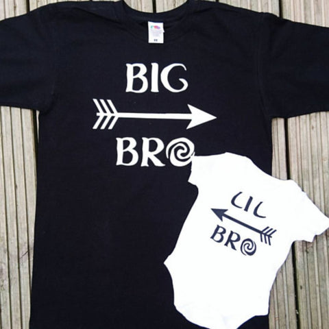 Big Brother Little brother matching outfits, shirts, t-shirts, tops, big bro, lil bro, sibling outfits, baby shower gift, gifts, big brother
