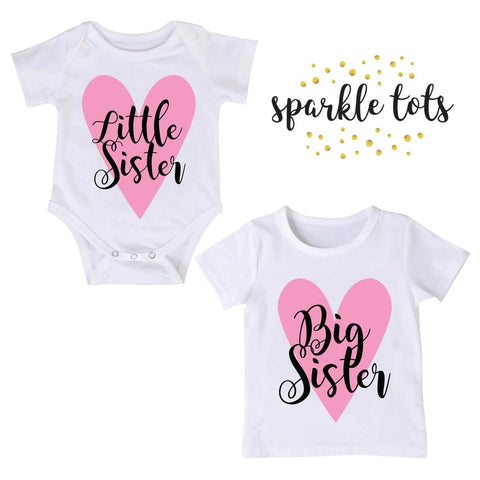 Big Sister Little Sister gifts, sister matching outfits, Big Sister little sister shirts, Outfit, Personalised little sister baby grow, baby shower gift