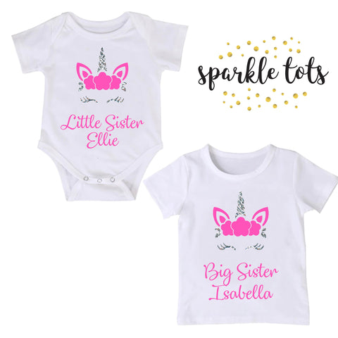 Big Sister Little Sister unicorn shirt baby grow, Matching Sister Outfits, Big Sister Outfit, Personalised Sister Outfit, Little Sister