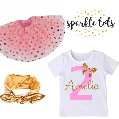 Girls Birthday Outfit, Girls tutu birthday set, Pink and Gold Birthday outfit, 2nd 3rd 4th 5th birthday girl, party outfit, tutu set