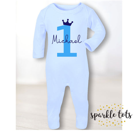 Boys 1st birthday romper - footie, sleepsuit - baby grow - baby boys personalised 1st birthday - first birthday gift - baby boy clothes