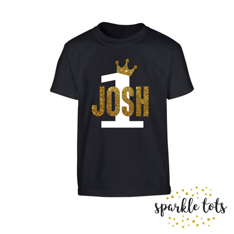boys birthday shirt - girls personalised birthday top - any name age top t-shirt romper baby grow onesie vest crown - gold birthday tshirt