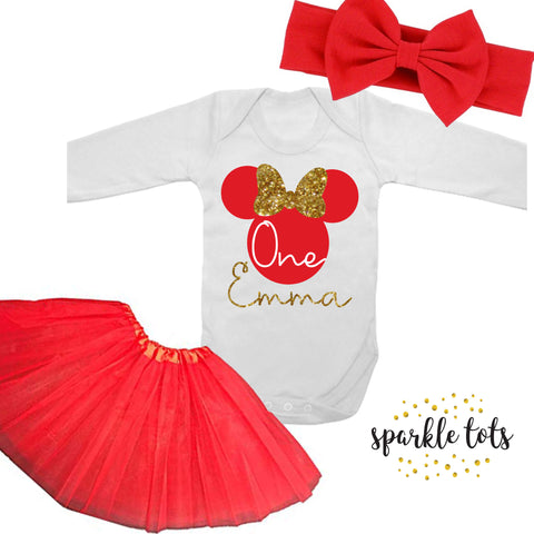 Minnie Mouse birthday outfit,Minnie Mouse 1st birthday outfit, 2nd birthday, red Minnie Mouse first birthday tutu set, disneyland outfit