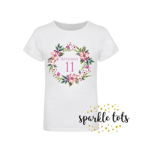 girls birthday shirt, custom birthday top, Floral Name tshirt, personalised T Shirt, birthday outfits, Birthday top, girls clothing, Gifts,