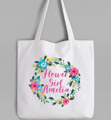 Flower Girl tote bags, flower girl personalised gift, flower girl Gift UK, Personalised Canvas Tote Bag, custom tote bag, cute girls gifts,