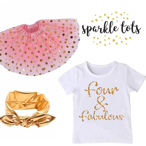 4th birthday outfit, four and fabulous shirt, toddler birthday outfit, pink and gold birthday outfit, Fourth birthday outfit girl, 4th bday