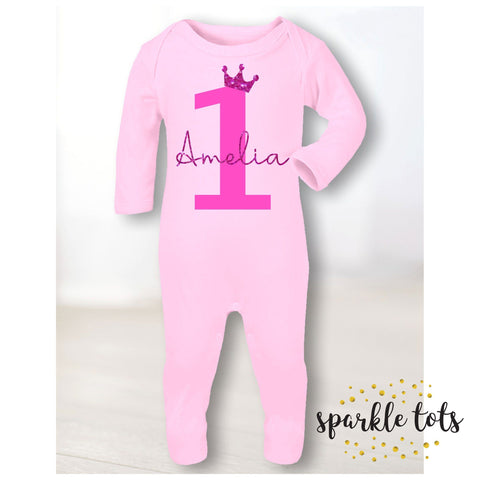 Girls 1st birthday romper - footie, sleepsuit - baby grow - baby girls personalised 1st birthday - first birthday gift - baby boy clothes