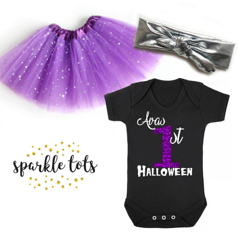 Personalised 1st Halloween Outfit, Girls Halloween Outfit With Name, First Halloween Outfit For Girls, Newborn Halloween Tutu, 1st Halloween