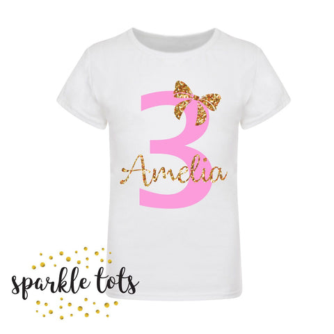 Girls Birthday T-Shirt White Pink Gold Girls Personalised With Name and Age Girls Birthday Shirt Top Tee Any Age 1st 2nd 3rd 4th 5th 6th