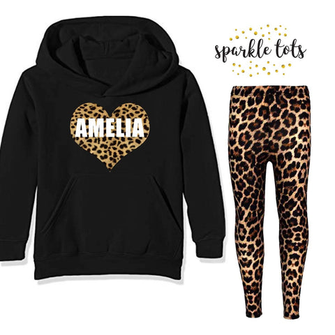 leopard print matching set, girl's personalised clothing outfit, trendy girl's clothing, personalised outfit, mummy daughter sister matching