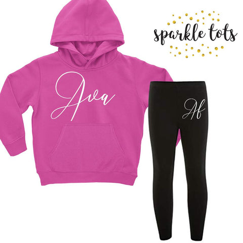 girls personalised clothing, girls personalised clothes, personalised hoodie leggings set, personalised tracksuit, personalised outfit