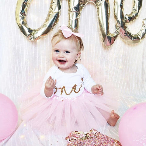 Baby tutu first 1st Birthday outfit birthday pink personalised gold glitter one bow headband photo prop cake smash personalised custom girls