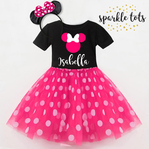 Hot Pink Polka dots Minnie Mouse Girl 3rd Birthday Tutu Outfit Set Shirt Party