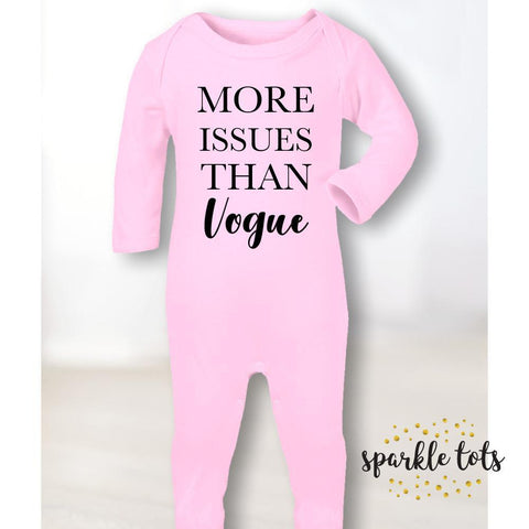 Baby Girl gifts, More issues than vogue baby romper, Vogue T Shirt, cute baby clothing, baby footie sleepsuit romper, baby shower gifts