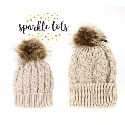 Chunky knit pom pom hats Mother & Baby Daughter/Son Winter Warm Hat Cap Cotton Knitted Bobble Parent-Child Hats matching mummy and me