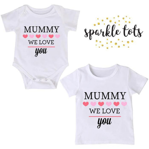 Mummy we love you, Mummy gift, Big Sister Little Sister, Matching Sister Outfits, Personalised mothers gift, Mummy Gift mommy birthday