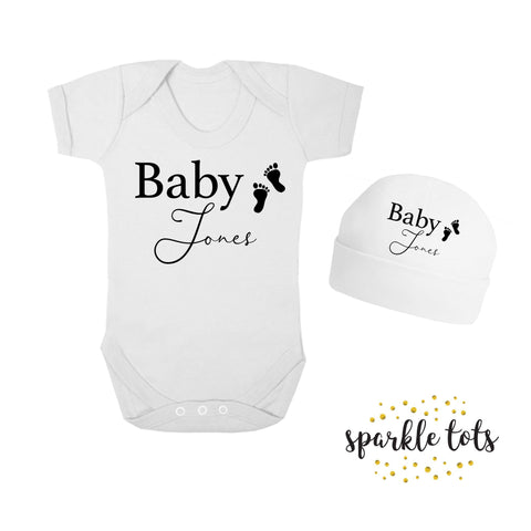 Personalised baby grow - personalised baby gift - baby announcement - custom baby shower gifts - baby clothes - onesie - vest - baby hat