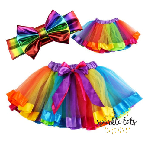 GIRLS RAINBOW TUTU SKIRT MULTICOLOURED + HEADBAND KID'S COSTUME BALLET DANCE