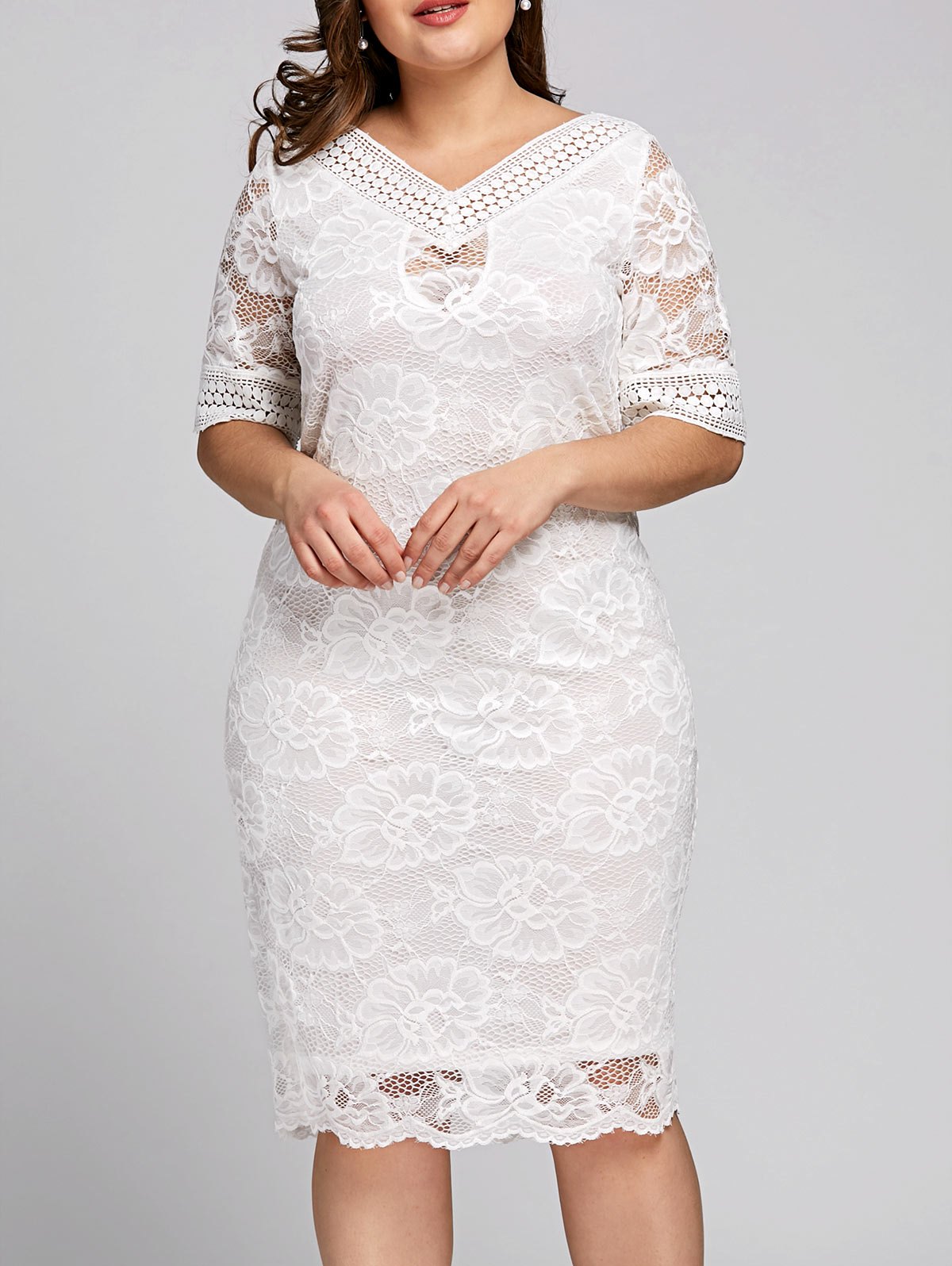 Plus Size V Neck Half Sleeve Lace Bodycon – St Joseph Retail 605e7b2ad
