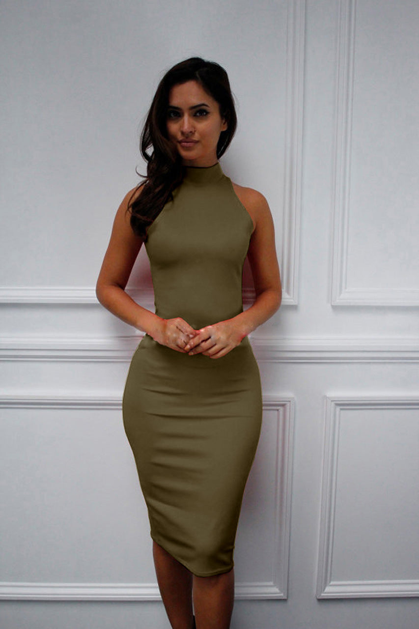 Turtleneck Sleeveless Elegant Pencil Dress – St Joseph Retail