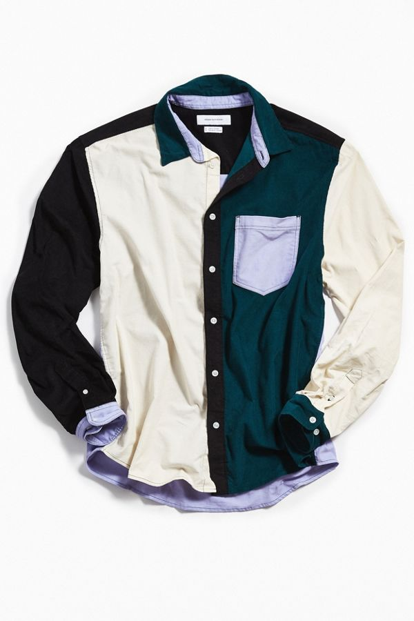 UO - Colorblocked Corduroy L/S Button-Down Shirt