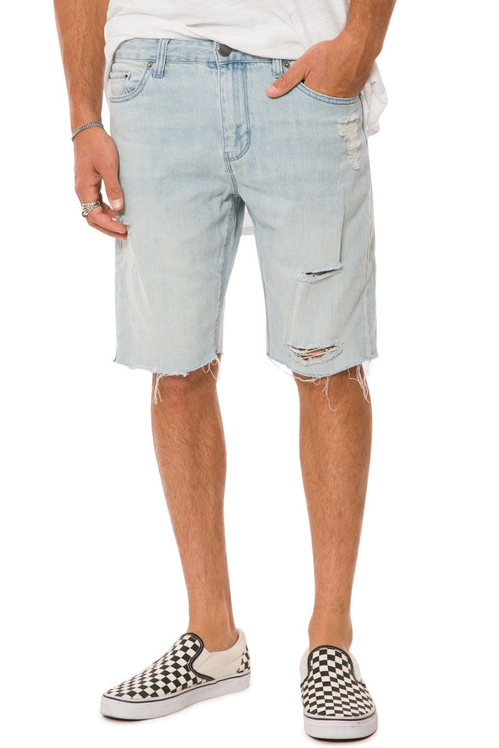 Elwood - Light Indigo Destructed Denim Raw Edge Shorts