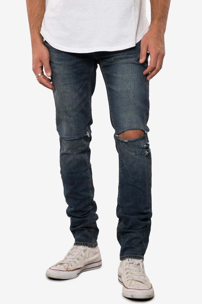 ELWOOD Medium Indigo Destructed Denim Slim Tapered Pant