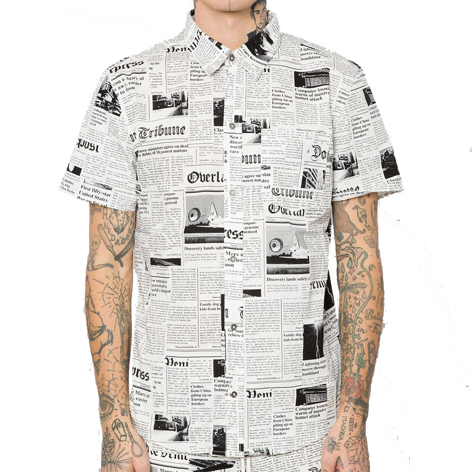 Elwood - Newspaper Poplin S/S Button up