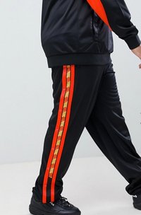 Fila poly tricot sweatpants with taping in black