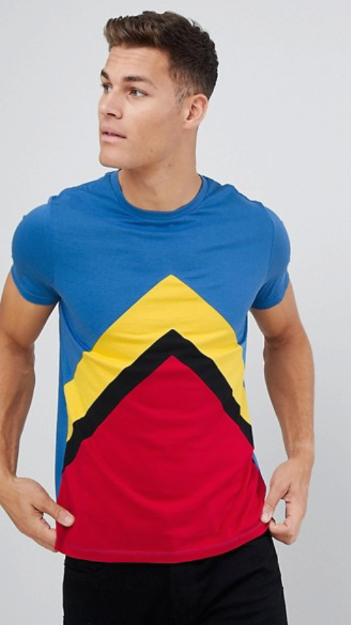 ASOS DESIGN - t-shirt with chevron cut & sew