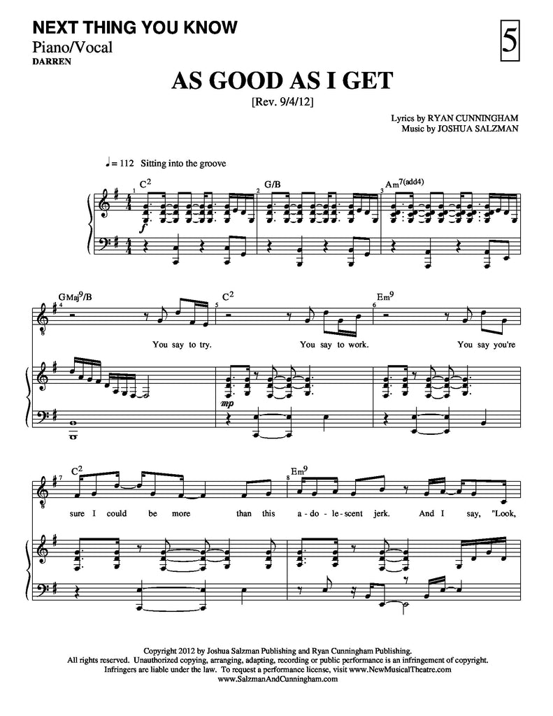 As Good As I Get | newmusicaltheatre.com | Sheet Music