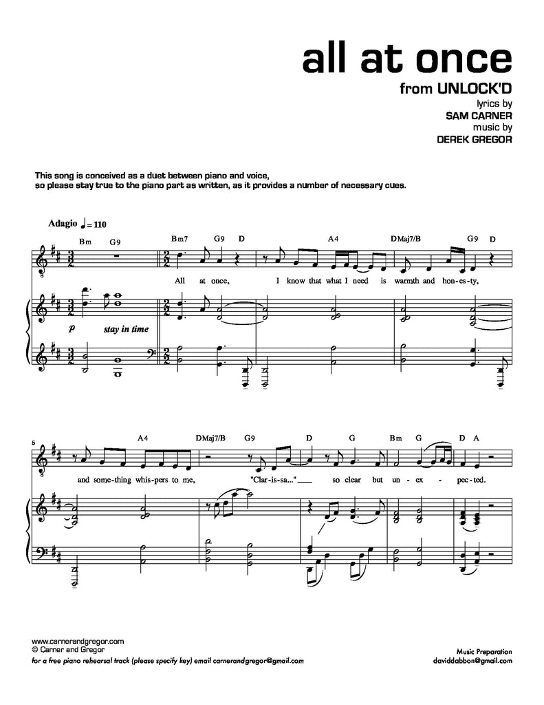 All At Once (Tenor Version) | newmusicaltheatre.com | Sheet Music