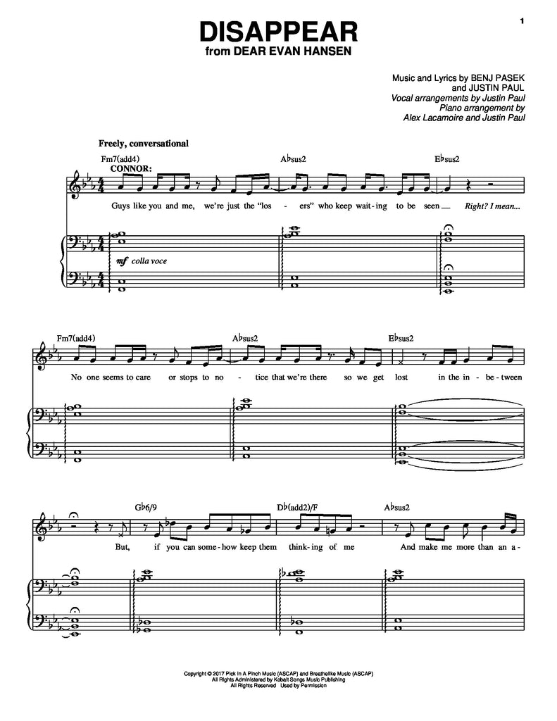 Disappear | newmusicaltheatre.com | Sheet Music