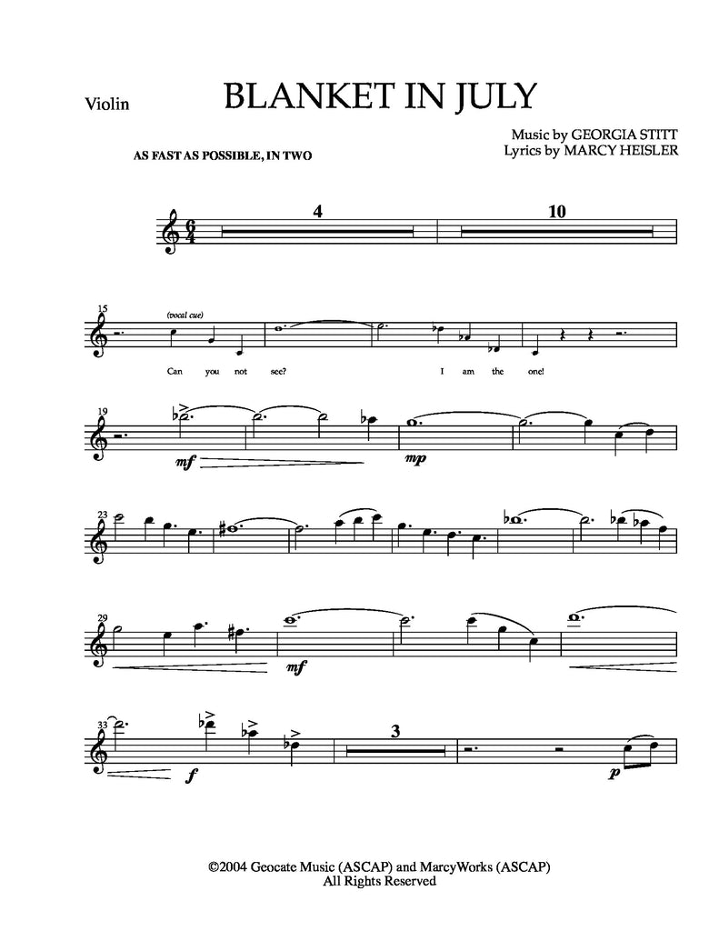 Blanket in July (with Violin) | newmusicaltheatre.com | Sheet Music