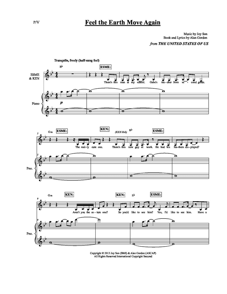 Feel the Earth Move Again | newmusicaltheatre.com | Sheet Music