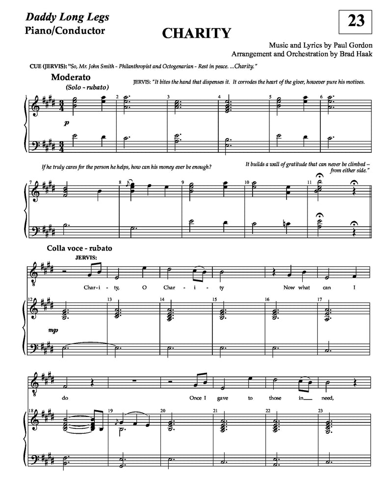 Charity | newmusicaltheatre.com | Daddy Long Legs | Sheet Music