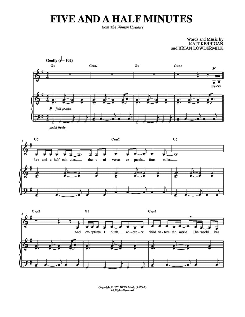 Five and a Half Minutes | newmusicaltheatre.com | Sheet Music