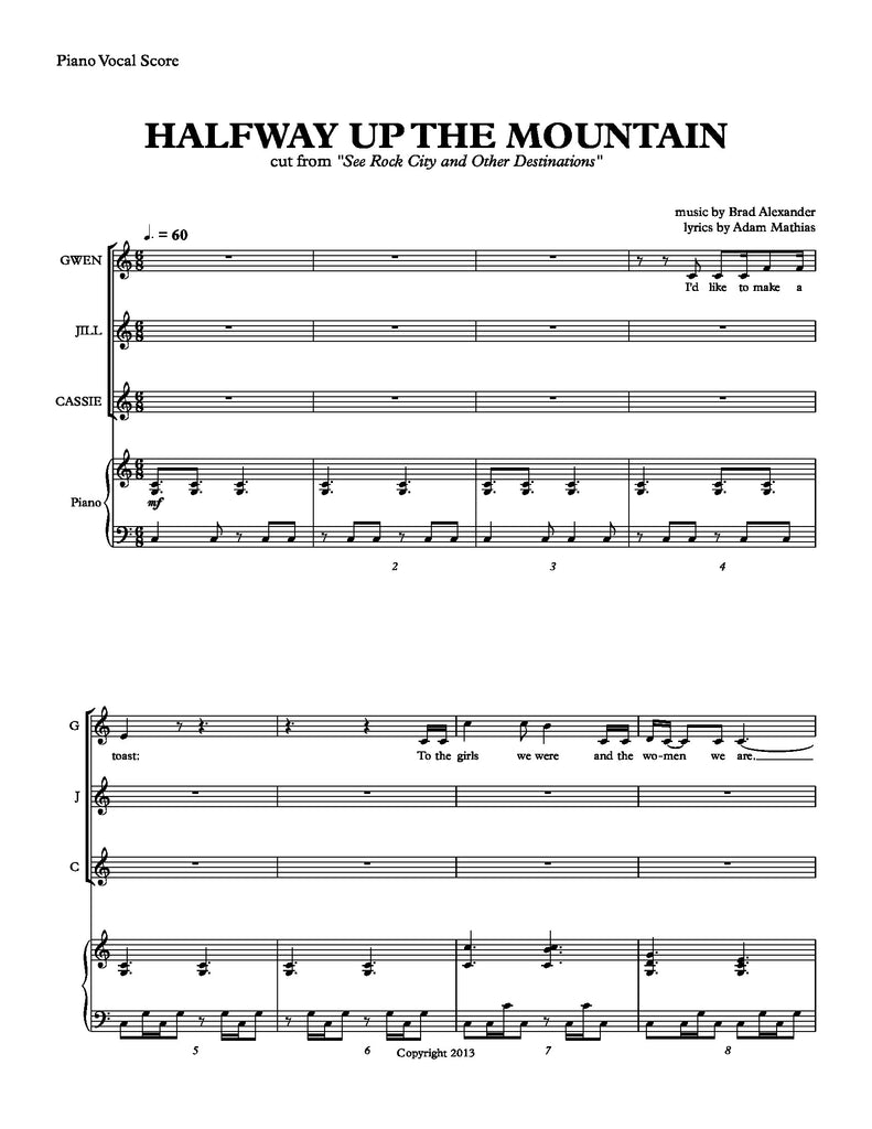 Halfway Up The Mountain | newmusicaltheatre.com | Sheet Music