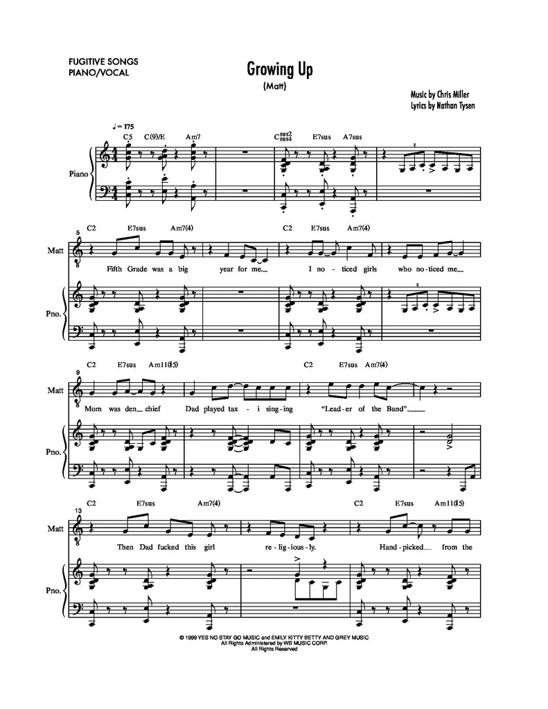 Growing Up | newmusicaltheatre.com | Sheet Music