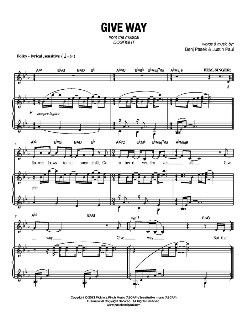 Give Way | newmusicaltheatre.com | Sheet Music