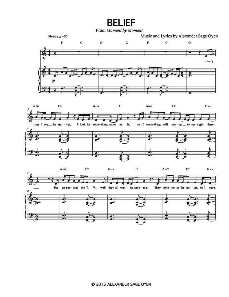 Belief | newmusicaltheatre.com | Sheet Music