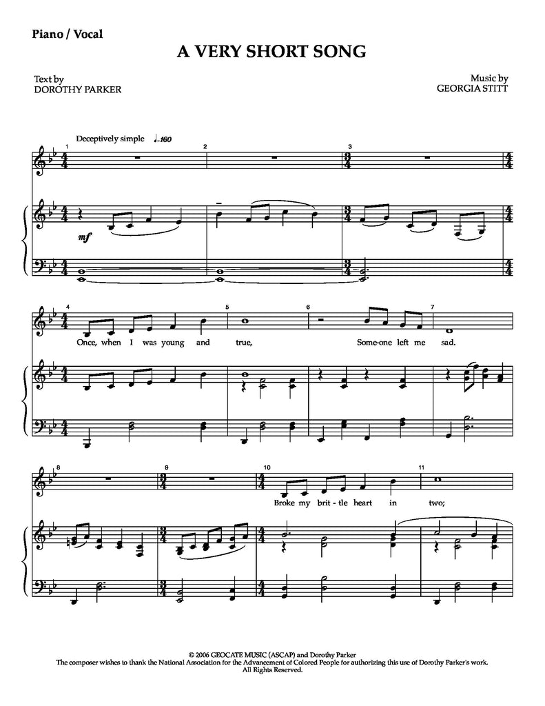 A Very Short Song | newmusicaltheatre.com | Sheet Music